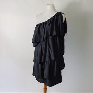 BLAQUE LABEL One Shoulder Ruffle Dress Black